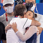 TOKYO, JAPAN - JULY 29: Sunisa Lee of the United States is congratulated after winning the All-Around Final for Women at Ariake Gymnastics Centre during the Tokyo 2020 Summer Olympic Games on July 29, 2021 in Tokyo, Japan. (Photo by Tim Clayton/Corbis via Getty Images)