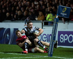 Toulon's Alby Mathewson is hauled into touch by Scarlets' James Davies<br /> <br /> Photographer Simon King/Replay Images<br /> <br /> European Rugby Champions Cup Round 6 - Scarlets v Toulon - Saturday 20th January 2018 - Parc Y Scarlets - Llanelli<br /> <br /> World Copyright © Replay Images . All rights reserved. info@replayimages.co.uk - http://replayimages.co.uk