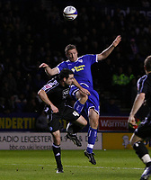 Photo: Steve Bond/Richard Lane Photography. Leicester City v Peterborough United. Coca-Cola Football League One. 20/12/2008. Craig Morgan (L) and Steve Howard (R) in the air