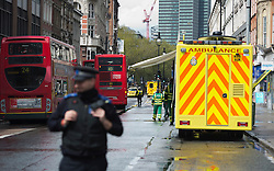 © London News Pictures. 27/04/2012. London, UK. Police and emergency response units on Tottenham Court Road in Central London following reports of a hostage situation..  Photo credit : Ben Cawthra /LNP
