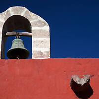 South America, Peru, Arequipa. Bell at Monasterio de Santa Catalina.