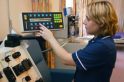 Stem cell machine being demonstrated by Haematology Nursing Team Leader,