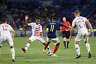 Ousmane Dembele of France and Tyler Adams of USA and Tim Parker of USA during the 2018 Friendly Game football match between France and USA on June 9, 2018 at Groupama stadium in Decines-Charpieu near Lyon, France - Photo Romain Biard / Isports / ProSportsImages / DPPI