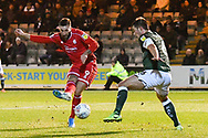 Ollie Palmer (9) of Crawley Town 'has a shot at goal blocked by Niall Canavan (6) of Plymouth Argyle during the EFL Sky Bet League 2 match between Plymouth Argyle and Crawley Town at Home Park, Plymouth, England on 28 January 2020.