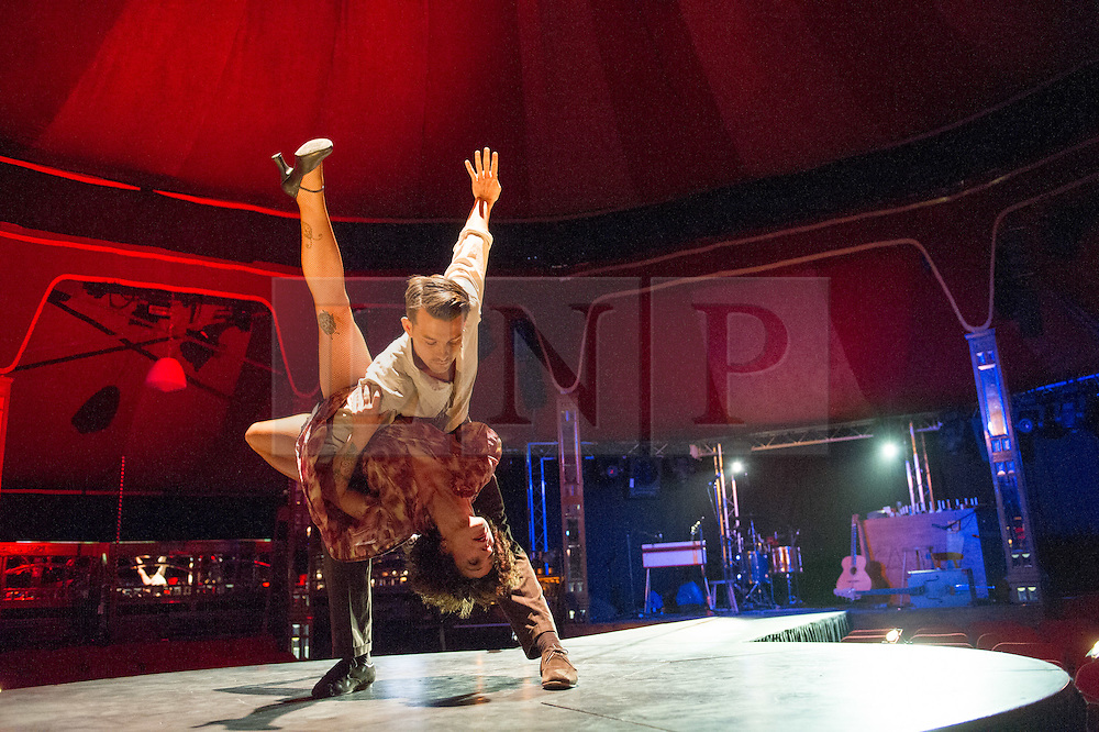 © Licensed to London News Pictures. 09/05/2012. London, UK.Cantina is an electrifying cocktail of vaudeville and circus, as part of Priceless London Wonderground. Presented by the London Southbank Centre from 8th May - 30th September 2012. Picture shows: Chelsea Mcguffin & David Carberry. Photo credit : Tony Nandi/LNP