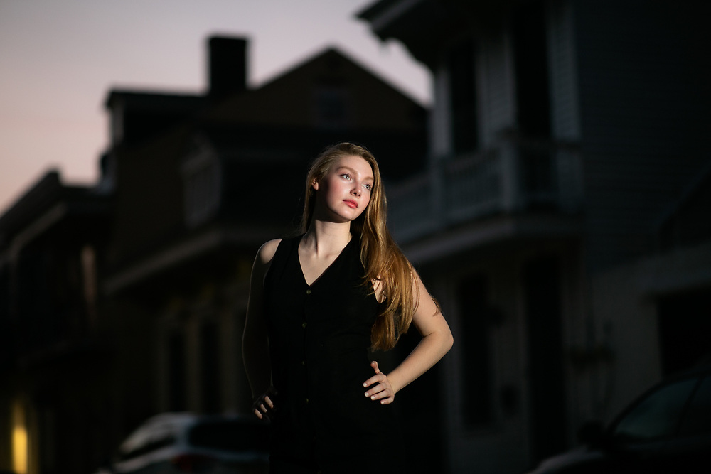 Olivia Parker poses for a lighting test in the French Quarter of New Orleans.