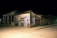 Houses at night in Gibara, Holguin, Cuba.