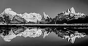 Reflection in  lake from campsite under Cerro Solo (far left), Cerro Torre & Monte FitzRoy, Parque Nacional los Glaciares, Patagonia, Argentina.