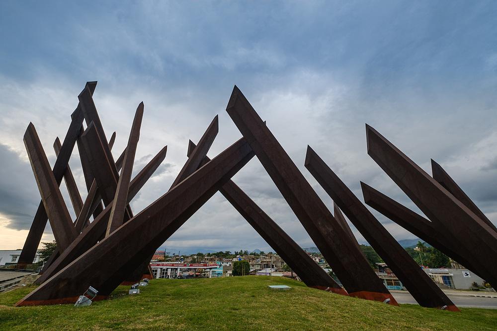 SANTIAGO DE CUBA, CUBA - CIRCA JANUARY 2020: Monument in the  Revolution Plaza (Plaza de la Revolucion) in Santiago de Cuba,