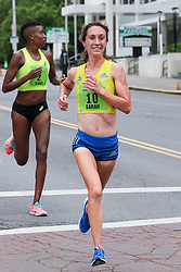 Freihofer's 5K Run For Women<br /> 40th year Sarah Pagano of Boston makes a bold and ultimately victorious move by Diane Nukuri of Arizona in the last quarter mile of the all-womens 5K in Albany, New York, a legendary race with a rich racing history now entering it's 5th decade.