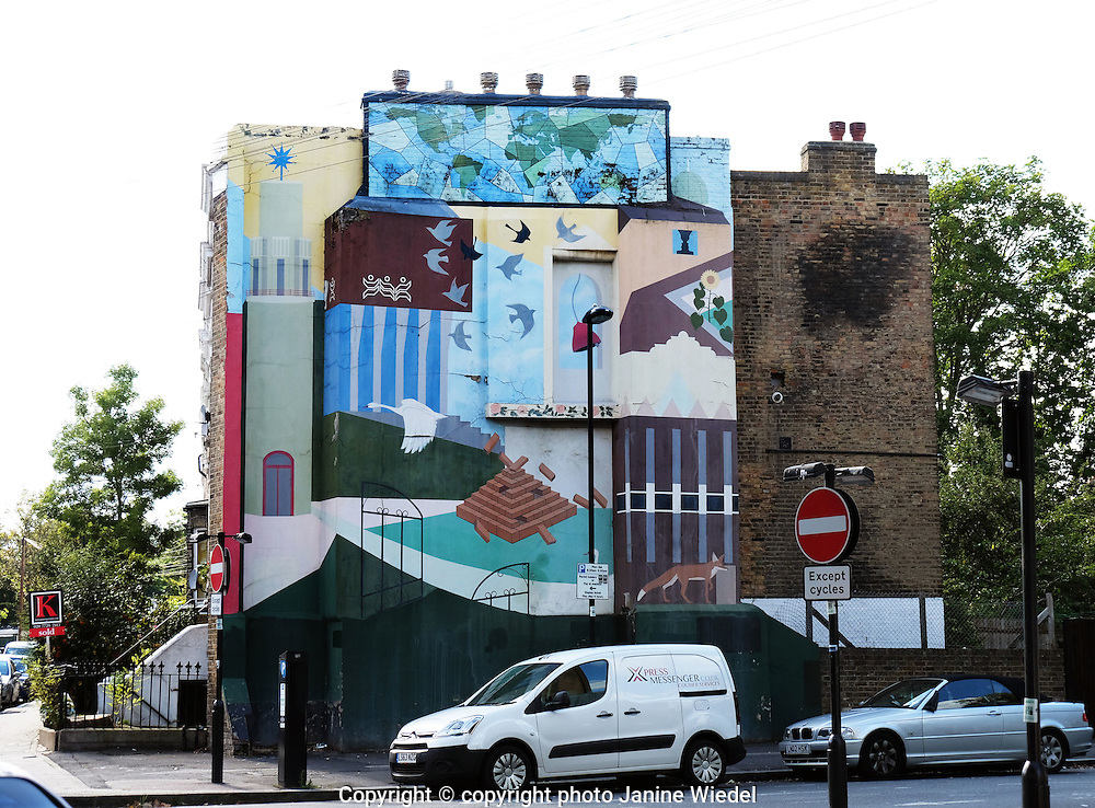 Belefields Road Wall mural on side of house off Brixton Road South London