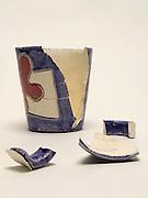 a broken ceramic cup