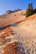 Evening light on the Lassen Peak trail under Lassen Peak, Lassen Volcanic National Park, California