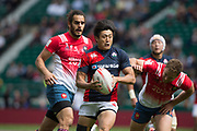 "Twickenham, Surrey United Kingdom. Japan's  Kosuke HASHIO, during the Trophy Quarter Final. France vs Japan at the<br /> ""2017 HSBC London Rugby Sevens"",  Sunday 21/05/2017 RFU. Twickenham Stadium, England    <br /> <br /> [Mandatory Credit Peter SPURRIER/Intersport Images]"