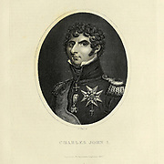 Charles XIV John (Karl XIV Johan; born Jean Bernadotte; 26 January 1763 – 8 March 1844) was King of Sweden and Norway from 1818 until his death. In modern Norwegian lists of kings he is called Charles III John. He was the first monarch of the Bernadotte dynasty. Copperplate engraving From the Encyclopaedia Londinensis or, Universal dictionary of arts, sciences, and literature; Volume XXIII;  Edited by Wilkes, John. Published in London in 1828