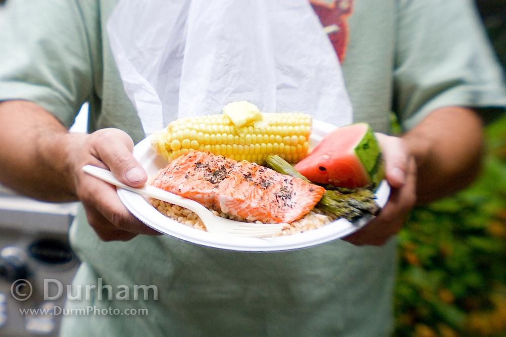 Salmon picnic plate. farm raised, dyed salmon.