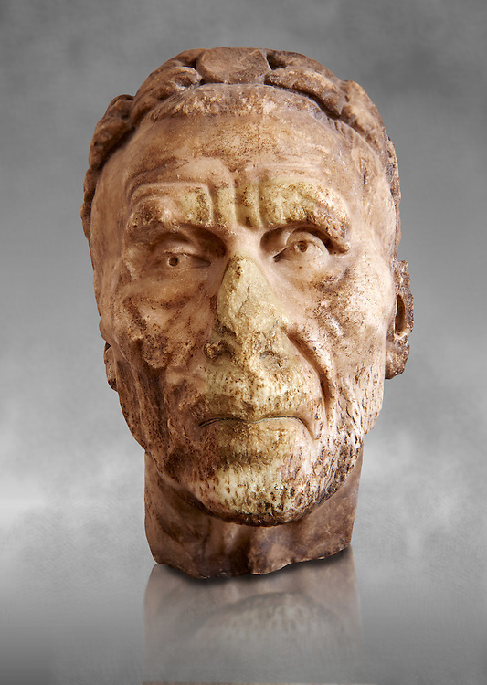 Roman sculpture of the Emperor Gordian 1st, excavated from Carthage ( ruled 3 months in 238AD. The Bardo National Museum, Tunis, Inv No: C. 3212. Against a grey art background. .<br /> <br /> If you prefer to buy from our ALAMY STOCK LIBRARY page at https://www.alamy.com/portfolio/paul-williams-funkystock/greco-roman-sculptures.html . Type -    BARDO    - into LOWER SEARCH WITHIN GALLERY box - Refine search by adding a subject, place, background colour, museum etc.<br /> <br /> Visit our CLASSICAL WORLD HISTORIC SITES PHOTO COLLECTIONS for more photos to download or buy as wall art prints https://funkystock.photoshelter.com/gallery-collection/The-Romans-Art-Artefacts-Antiquities-Historic-Sites-Pictures-Images/C0000r2uLJJo9_s0c