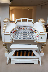Wurlitzer organ on display at Musikinstrumenten Museum or Museum of Musical Instruments in Mitte Berlin Germany