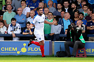 Portsmouth midfielder Gareth Evans (26) celebrating after scoring goal to make it 0-2 during the EFL Sky Bet League 1 match between AFC Wimbledon and Portsmouth at the Cherry Red Records Stadium, Kingston, England on 13 October 2018.