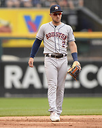 CHICAGO - AUGUST 14:  Alex Bregman #2 of the Houston Astros looks on against the Chicago White Sox on August 14, 2019 at Guaranteed Rate Field in Chicago, Illinois.  (Photo by Ron Vesely/MLB Photos via Getty Images)  *** Local Caption *** Alex Bregman