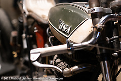 """The Manipulated"", a custom BSA A65 cafe racer built by J Shia and Mike Ulman of Madhouse Motors in Boston at the Handbuilt Show. Austin, TX. USA. Saturday April 21, 2018. Photography ©2018 Michael Lichter."