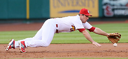 May 31, 2017 - St Louis, MO, USA - St. Louis Cardinals third baseman Jedd Gyorko dives after a single by the Los Angeles Dodgers' Chris Taylor in the second inning on Wednesday, May 31, 2017, at Busch Stadium in St. Louis. The Cards won, 2-1. (Credit Image: © Chris Lee/TNS via ZUMA Wire)