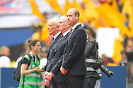 HRH Prince William the Duke of Cambridge stands waiting to be introduced to the teams ahead of the The FA Cup Final match between Manchester City and Watford at Wembley Stadium, London, England on 18 May 2019.