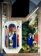 The Presentation at the Temple and The Flight Into Egypt. From a triptych.  Virgin Mary, St Simeon, the prophetess Anna, St Joseph Holy Family. Melchior  Broederlam (active 1381-1409) Netherlands painter.