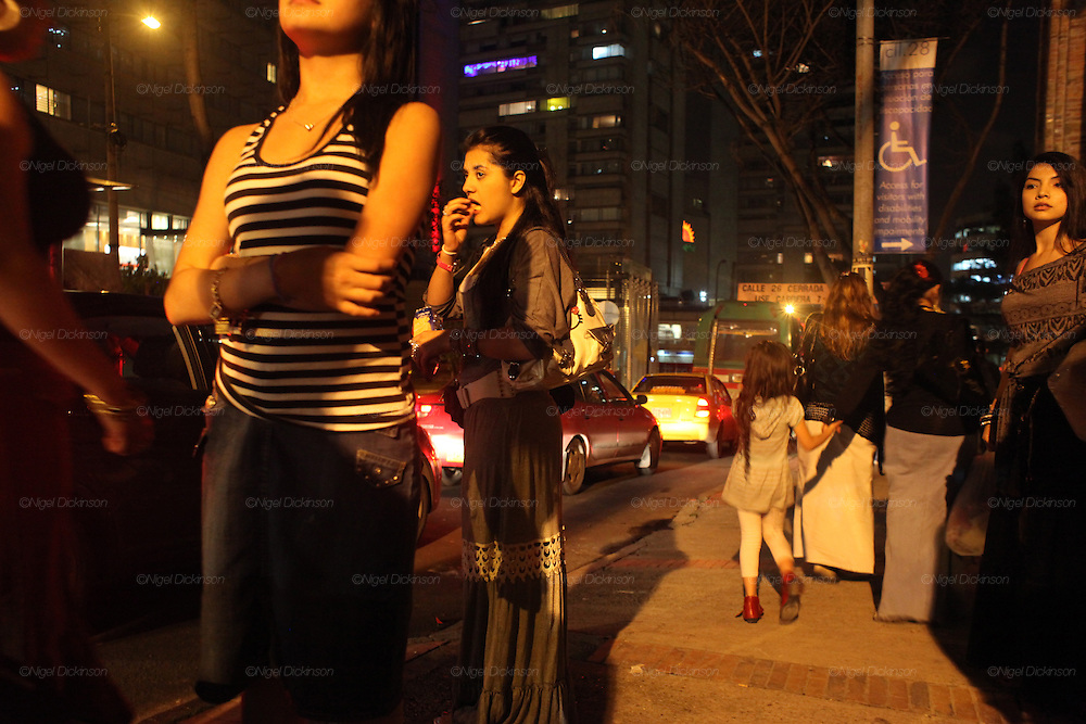 Roma girls in the street at night. Bogota, Columbia<br /><br />Roma came to the Americas as early as Christopher Columbus's first voyage. Roma were exported and sold as slaves along with negroes from Africa. Europe tried to solve its 'roma problem' by deporting many Roma slaves to the americas. In the 1920s Roma, Chinese and mentally handicapped were not allowed to enter the USA anymore. After that Roma went to South America and the Carribean with a view to traveling north across borders, but many ended up by setting up communities in the southern hemisphere. Nowadays about two million Roma live between North and South America.