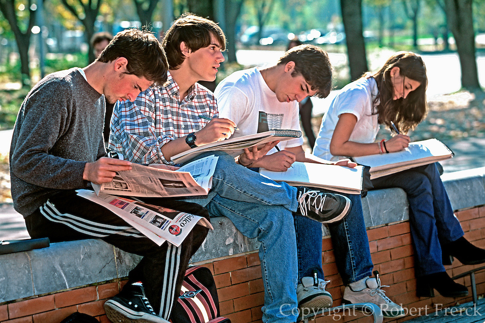 SPAIN, BASQUE REGION, EDUCATION SAN SEBASTIAN; students on the campus of the regional University on the outskirts of the city