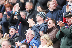 South stand, after Falkirk's Paul Watson goal. <br /> Falkirk 1 v 0 Morton, Scottish Championship game  played 1/5/2016 at The Falkirk Stadium. Pics by Ross Schofield.