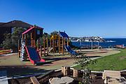 A park overlooking Bondi Beach closed off due to the Coronavirus Pandemic, Sydney, Australia.