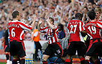 Photo: Paul Greenwood.<br />Sheffield United v West Ham United. The Barclays Premiership. 14/04/2007<br />Sheffield's Phil Jagielka, (L) and Derek Geary celebrate the opening goal