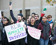 """Notre Dame students protest the election of Donald Trump as president of the United States. Students chanted """"love trumps hate"""" and other slogans that supported undocumented immigrants, LGBT members and others."""