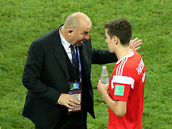 July 7, 2018 - Sochi, Russia - July 07, 2018, Sochi, FIFA World Cup 2018, the playoff round. 1/4 finals of the World Cup. Football match Russia - Croatia at the stadium Fisht. Stanislav Cherchesov. Daler Kuzyaev  (Credit Image: © Russian Look via ZUMA Wire)