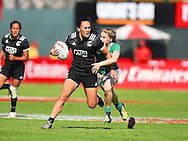 New Zealands Portia Woodman breaks a tackle  during the Emirates Dubai rugby sevens match between New Zealand and Ireland  at the Sevens Stadium, Al Ain Road, United Arab Emirates on 1 December 2016. Photo by Ian  Muir.*** during the Emirates Dubai rugby sevens match between *** and ***  at the Sevens Stadium, Al Ain Road, United Arab Emirates on 1 December 2016. Photo by Ian  Muir.