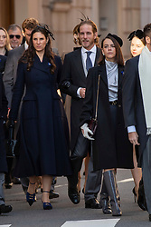 Pierre Casiraghi, Beatrice Borromeo, Tatiana Santo Domingo, Andrea Casiraghi, Princess Alexandra of Hanover, Pauline Ducruet are arriving to the St. Nicholas Cathedral to attend the solemn mass during the National Day ceremonies. Monaco on november 19, 2018. Photo by ABACAPRES.COM