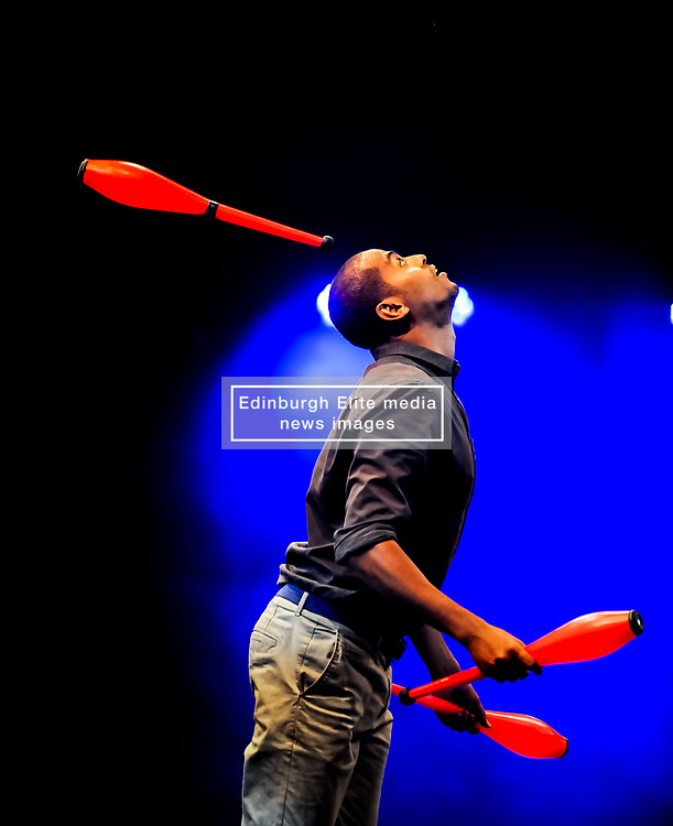 Pictured: Bibi Tesfamariam from Circus Abyssinia (Ethiopia)<br /> <br /> Performers from across the globe came together at the Edinburgh Festival to mark the 250th anniversary of circus performances.<br /> <br /> © Dave Johnston / EEm