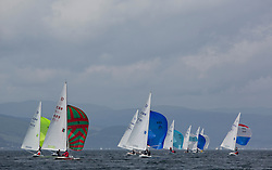 International Dragon Class Scottish Championships 2015.<br /> <br /> Day 1 racing in perfect conditions.<br /> <br /> Fleet, Downwind<br /> <br /> <br /> Credit Marc Turner