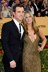 """File photo - Jennifer Aniston and Justin Theroux attend the 21st Annual Screen Actors Guild Awards at the Shrine Auditorium in Los Angeles, CA, USA, on January 25, 2015. Hollywood couple Jennifer Aniston and Justin Theroux are separating after two years of marriage. The pair, who reportedly met on the set of comedy film Wanderlust, said the mutual decision was """"lovingly made"""" at the end of last year. Photo by Lionel Hahn/ABACAPRESS.COM"""