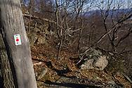 Cornwall, New York - A marker for the Barton Swamp Trail on Schunnemunk Mountain on Jan. 1, 2015.