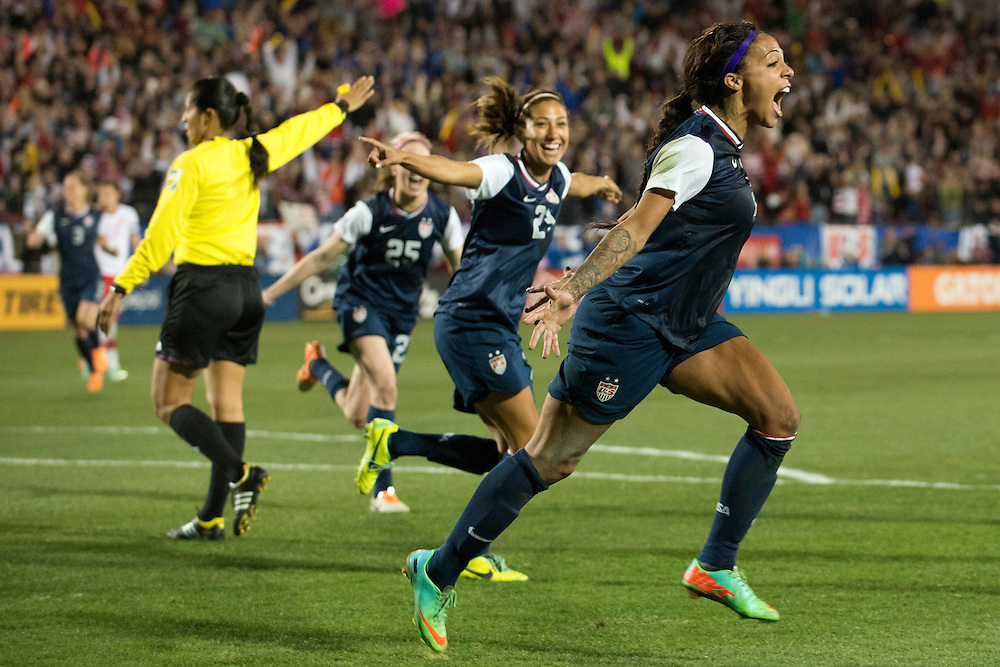 FRISCO, TX - JANUARY 31:  Sydney Leroux #2 of the U.S. Women's National Team celebrates after scoring the game winning goal against the Canadian Women's National Team on January 31, 2014 at Toyota Stadium in Frisco, Texas.  (Photo by Cooper Neill/Getty Images) *** Local Caption *** Sydney Leroux