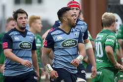 September 23, 2017 - Galway, Ireland - Willis Halaholo of Cardiff celebrates after scores a try during the Guinness PRO14 Conference A match between Connacht Rugby and Cardiff Blues at the Sportsground in Galway, Ireland on September 23, 2017  (Credit Image: © Andrew Surma/NurPhoto via ZUMA Press)