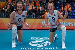 Marije ten Brinke of Netherlands, Jette Kuipers of Netherlands celebrate 3-2 win against USA during United States - Netherlands, FIVB U20 Women's World Championship on July 15, 2021 in Rotterdam