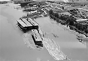 """Ackroyd 00058-02.""""Aerials. August 18, 1947"""" """"Aircraft carriers in Willamette river"""" (Gunderson and Shaver area)"""