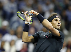 NEW YORK, Sept. 9, 2017  Rafael Nadal of Spain returns a ball to Juan Martin del Potro of Argentina during the men's singles semifinal match at the 2017 U.S. Open in New York, the United States, Sept. 8, 2017. Rafael Nadal won 3-1 to enter the final. (Credit Image: © Qin Lang/Xinhua via ZUMA Wire)