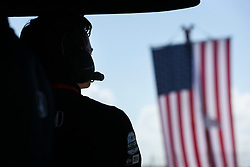 March 9, 2019 - St. Petersburg, Florida, U.S. - DIRK SHADD   |   Times  .IndyCar team co-owner George Steinbrenner IV (on right), with Harding Steinbrenner Racing, looks out to the track from his pit box before an IndyCar practice session at the Grand Prix of St. Petersburg in St. Petersburg on Saturday, March 9, 2019. (Credit Image: © Dirk Shadd/Tampa Bay Times via ZUMA Wire)