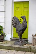 Large metal cockerel sculpture chained outside Hen House, Devizes, Wiltshire, England, UK