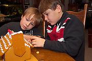 Boy age 7 wearing UK Union Jack flag shirt and brother age 10 decorating Christmas gingerbread house. St Paul Minnesota USA