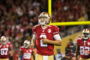San Francisco 49ers quarterback Blaine Gabbert (2) comes off the field after a touchdown against the Los Angeles Rams at Levi's Stadium in Santa Clara, Calif., on September 12, 2016. (Stan Olszewski/Special to S.F. Examiner)